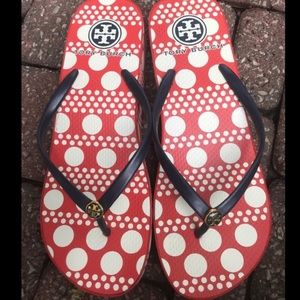 Tory Burch polka dot flip flops sandals size 10